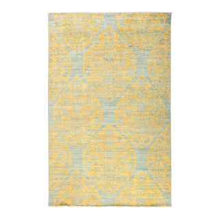 "Yellow & Gray Hand-Knotted Rug- 5' 1"" x 7' 10"""