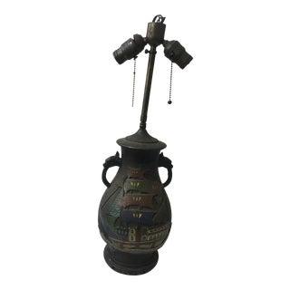 Antique Chinese Metal Lamp Enameled Ships Decor