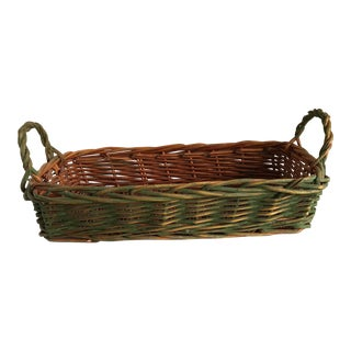 Rustic Boho Wood Handled Basket