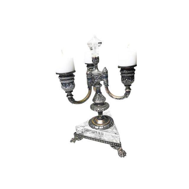 Image of 1800s Antique Pairpoint 3 Arm Crystal & Silver Plated Clawfoot Candelabra