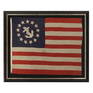 13 STAR PRIVATE YACHT FLAG, A SCARCE AND DESIRABLE EXAMPLE WITH SINGLE-APPLIQUED, HAND-SEWN STARS AND ANCHOR, MADE BY ANNIN IN NEW YORK CITY