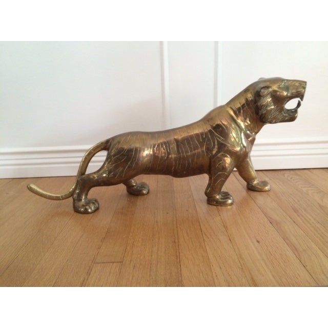 Large Vintage Brass Tiger - Image 2 of 9