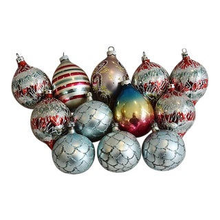Fancy Glitter Christmas Ornaments - Set of 12