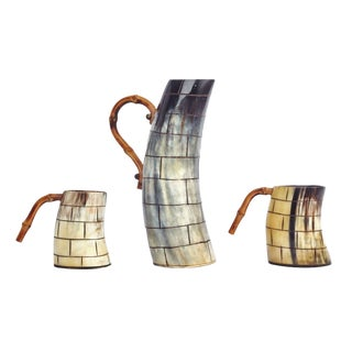 Horn & Bamboo Pitcher and Mug Set