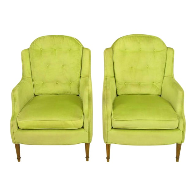 Pair of Chartreuse Yellow-Green Velvet Regency Lounge Chairs - Image 1 of 9