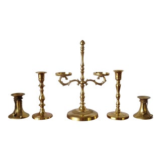 Vintage Collection of Brass Candleholders -S/5