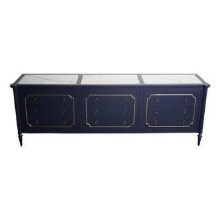 Louis XVI Navy Dresser with Italian Marble Inlays