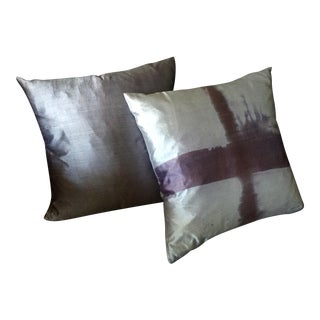 Contemporary Hand Loomed & Dyed Silk Decorative Pillows - A Pair