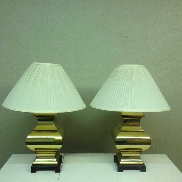 Large Brass Asian Table Lamps - A Pair - Image 2 of 9
