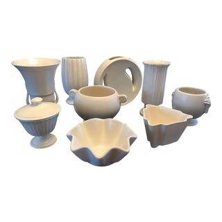 Art Deco Matte White Ceramic Pottery Collection - Set of 9