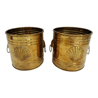 Vintage Brass Seashell Planters or Cachepots - a Pair