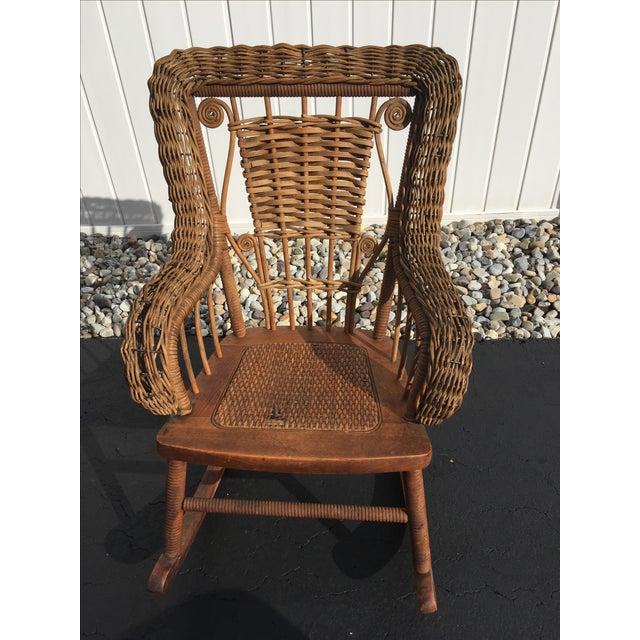 Antique Children's Wicker & Spindle Rocking Chair - Image ... - Antique Children's Wicker & Spindle Rocking Chair Chairish