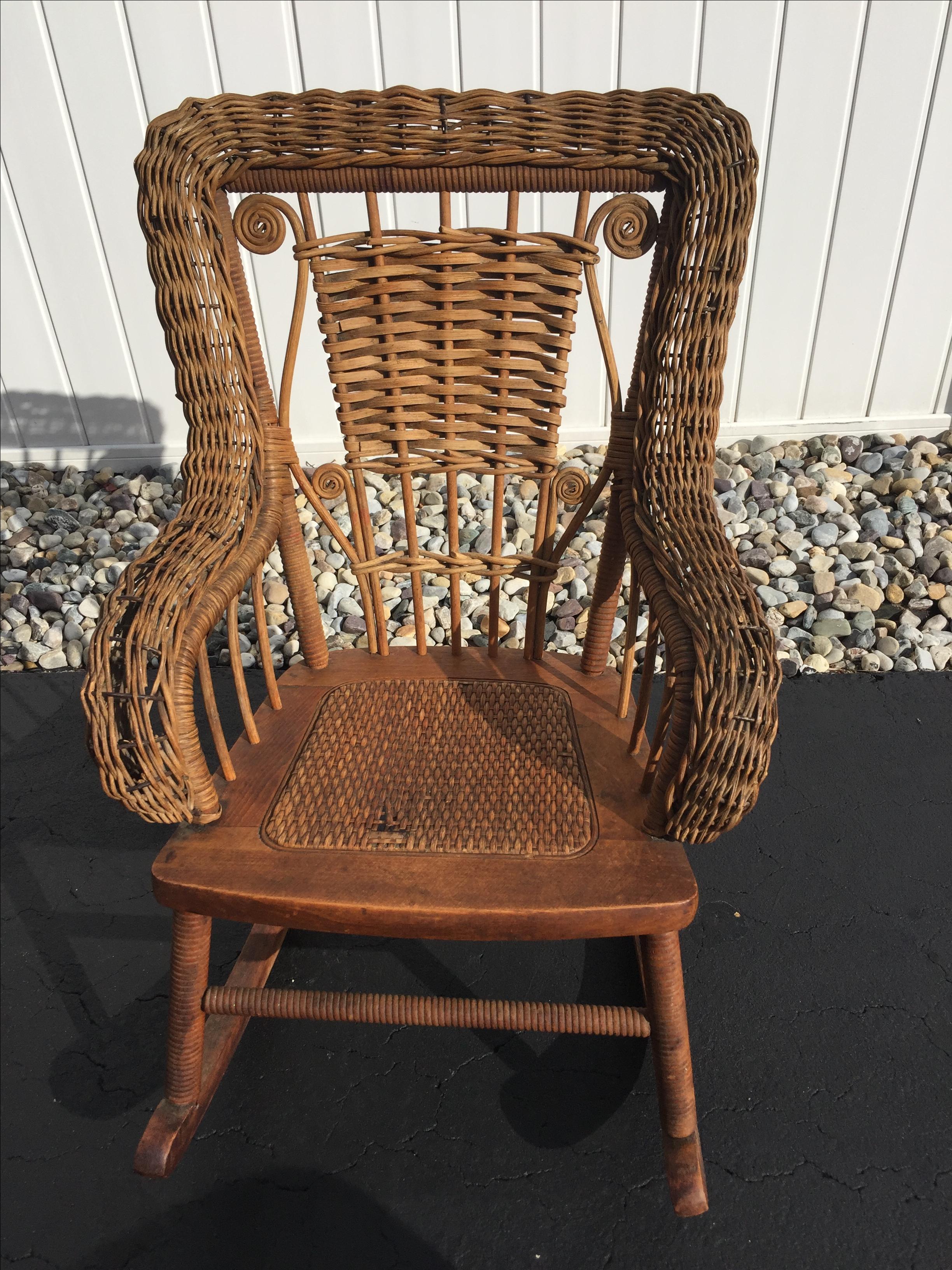 Antique Childrenu0027s Wicker U0026 Spindle Rocking Chair   Image ...