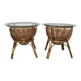 Vintage Rattan Fish Basket Tables -- A Pair