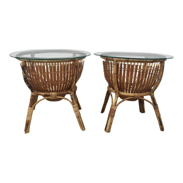 Vintage Rattan Fish Basket Tables -- A Pair - Image 1 of 6
