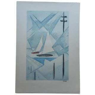 Large Vintage Etching Cubist Sailboats Signed
