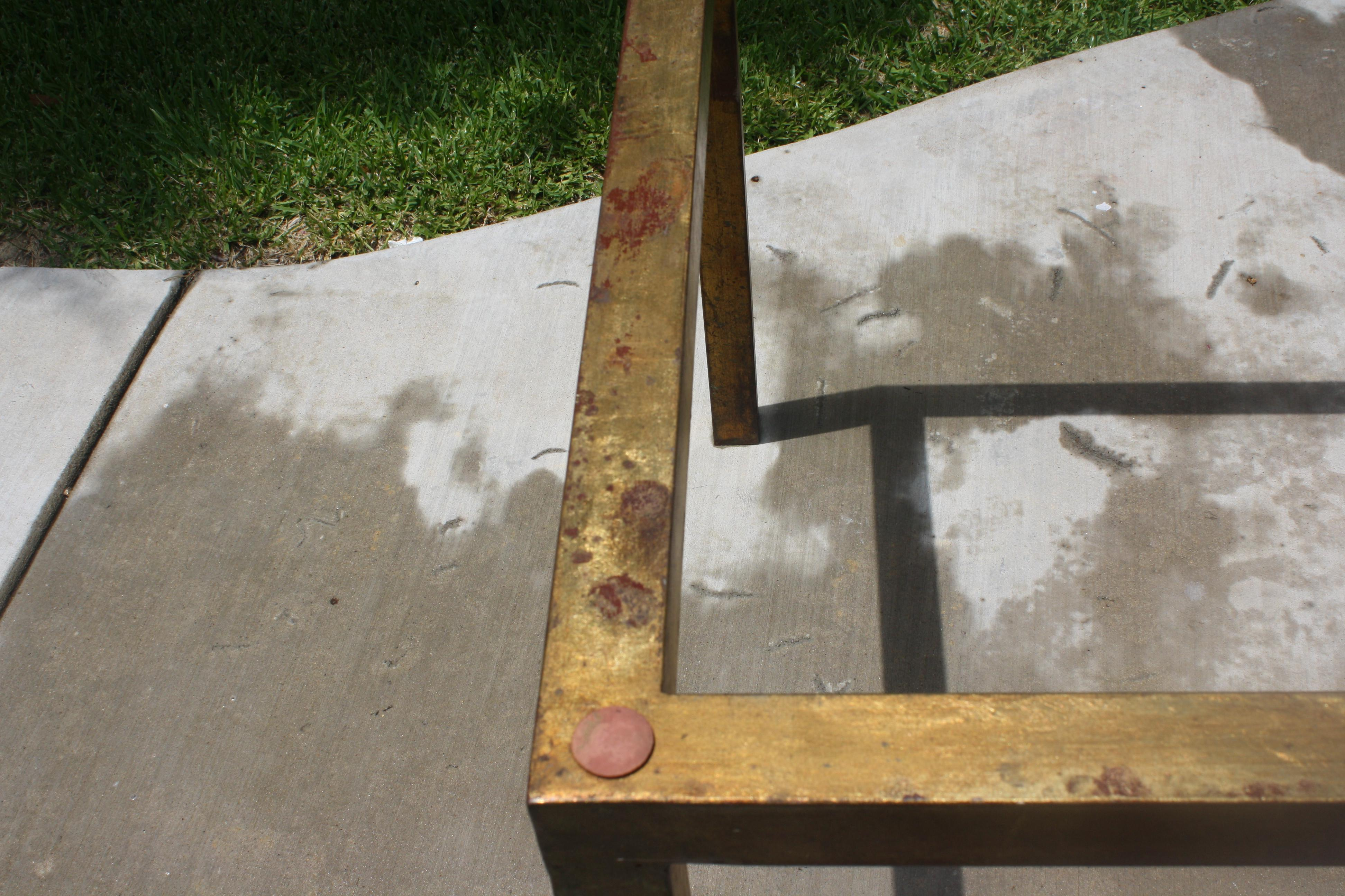 Vintage Modernist Gilt Metal Parsons Table With Thick Glass Top   Image 5  Of 10