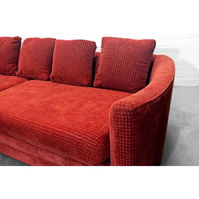 Custom Mid-Century Sofa in Rust Colored Chenille - Image 4 of 5