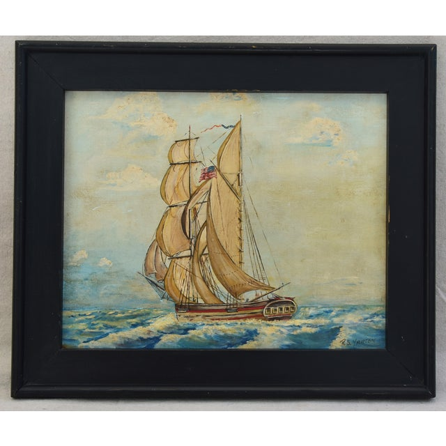 Framed 1940s Sailing Ship Oil Painting - Image 2 of 11