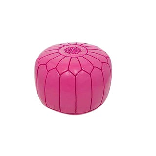Moroccan Rose Pink Leather Stuffed Pouf