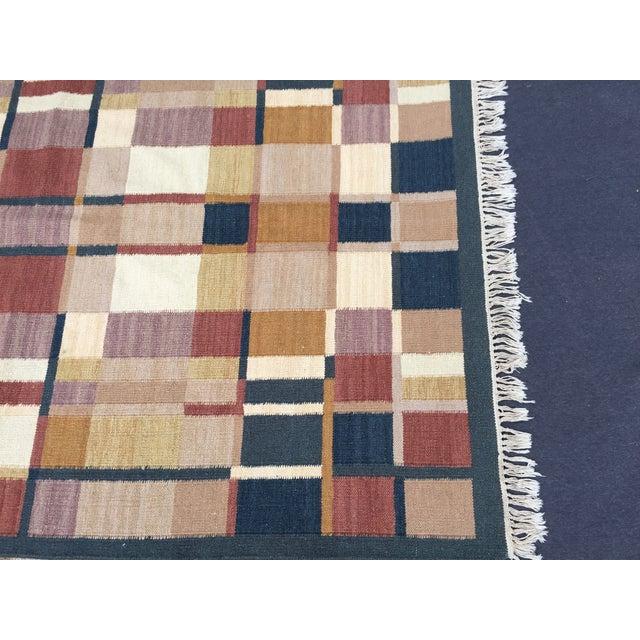 Geometric Indian Dhurrie Wool Rug - 4' x 6' - Image 3 of 8
