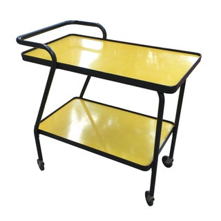 1970's Yellow Bar Cart