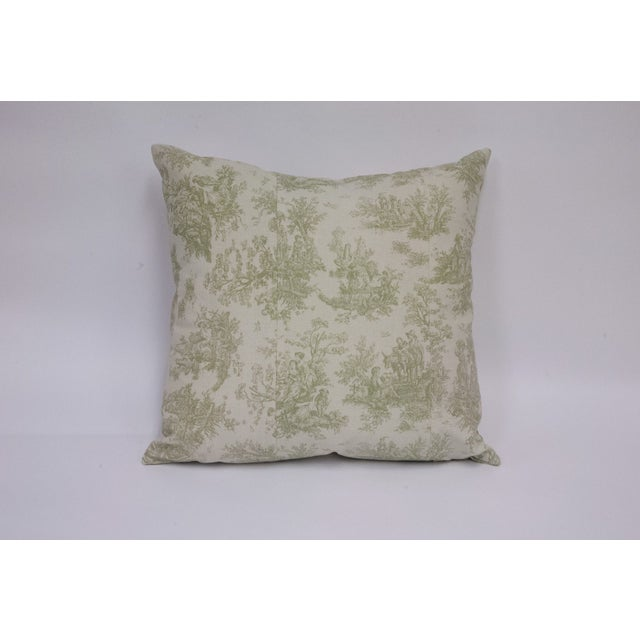Deconstructed Green & Cream Toile Pillow - Image 3 of 4