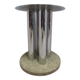 Mid-Century Chrome & Marble Round Pedestal Dining Table Base