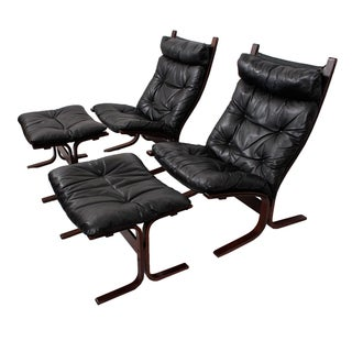 Westnofa Leather & Rosewood Lounge Chairs - A Pair