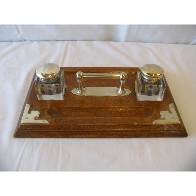 Image of Antique Oak and Silver Plated Double Inkstand