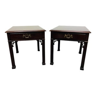 HENREDON Banded Mahogany Chinese Chippendale Style End Side Tables - Pair