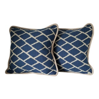 Modern Blue Linen Pillows - a Pair