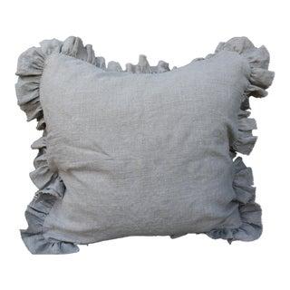 Wheat Linen Ruffled Pillow