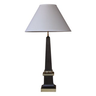 A Sleek French 1940's Black Painted Tole Obelisk-Form Lamp