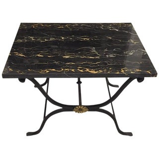 French Art Deco Wrought Iron and Portoro Marble Table