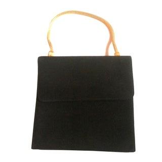 1950s Black Suede Evening Bag