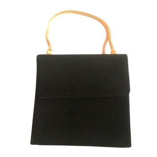 1950s Black Suede Evening Bag
