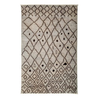 """Moroccan Gray Hand-Knotted Rug - 4'10"""" x 7'7"""""""