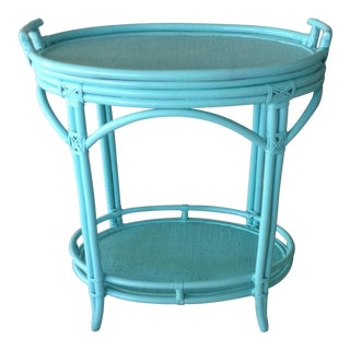 Tiffany Blue Faux Bamboo Bar Cart