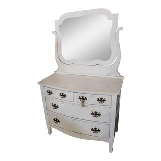 Antique White Bow Front French Dresser With Bevel Tilt Mirror