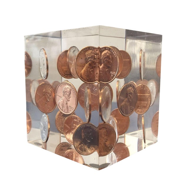 Vintage Lucite Coin Cube - Image 1 of 5