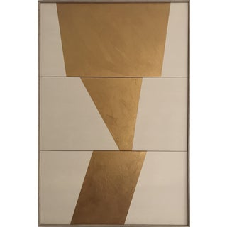 """Jason Trotter Original Acrylic Painting """"Gold Formation Triptych Jet0454"""""""