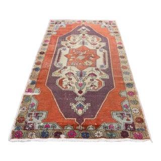 Tribal Turkish Anatolian Orange Oushak Carpet - 4′3″ × 8′5″