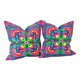 Vibrant Embroidered Bohemian Pillows - A Pair