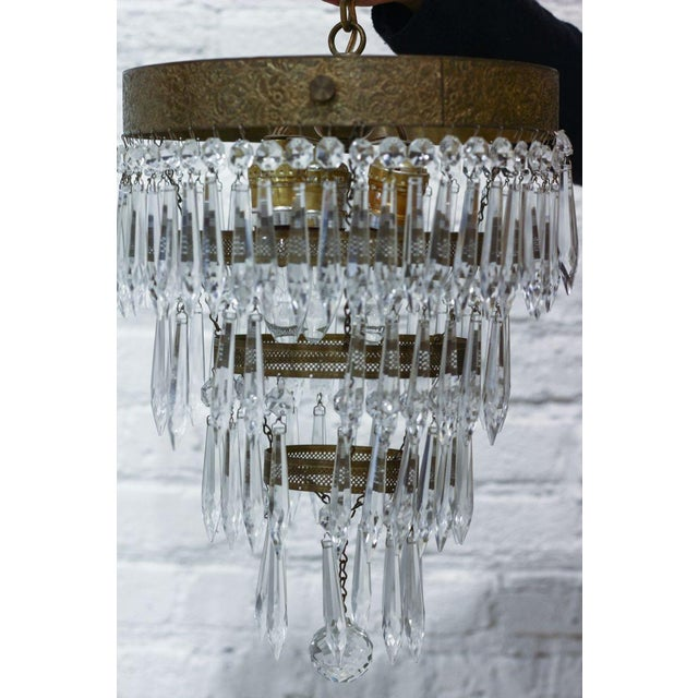 Image of Large 3-Tiered Brass Fixture With Cut Crystal