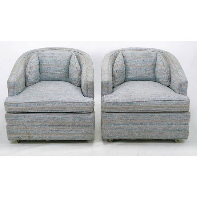 Image of Pair of Knapp & Tubbs Barrel Chairs in Original Blue Upholstery
