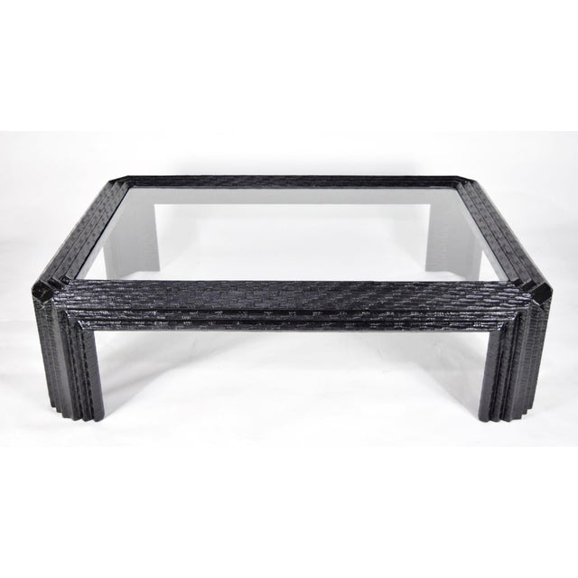 Lacquered Grasscloth Coffee Table by Baker - Image 2 of 9