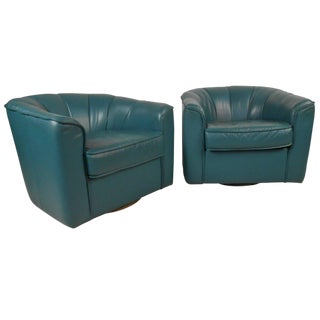Contemporary Swivel Club Chairs - A Pair