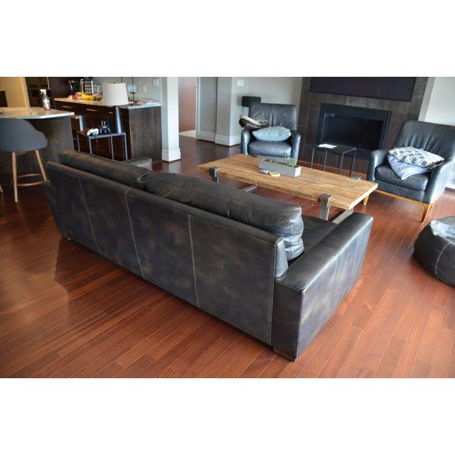 restoration hardware maxwell leather sofa chairish