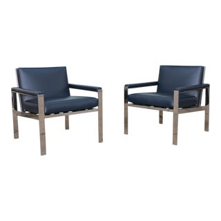 Mid-Century Knoll Chrome & Leather Chairs - A Pair